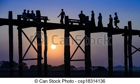 Stock Photos of U Bein bridge, Myanmar.