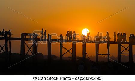 Stock Photographs of U Bein bridge. Mandalay. Myanmar. csp20395495.