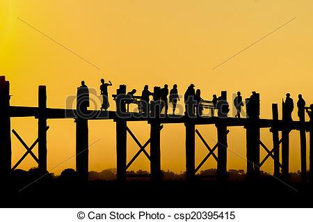 Stock Photography of U Bein bridge. Mandalay. Myanmar. csp20395415.