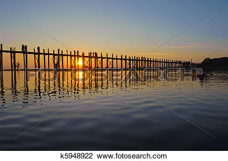 Stock Photo of U Bein bridge, Mandalay, Myanmar k5948922.
