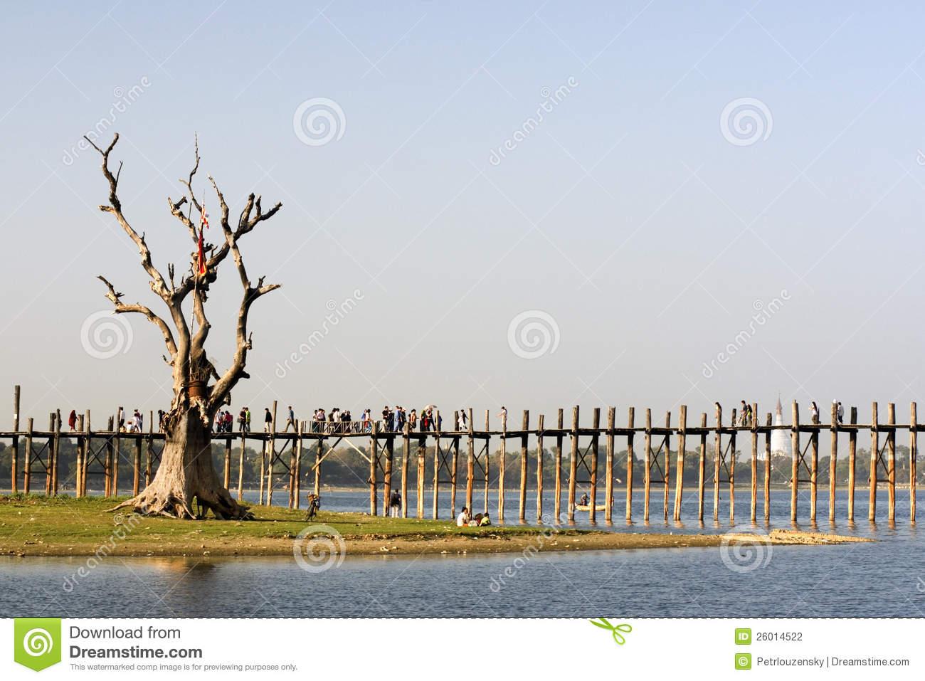 U Bein Bridge In Amarapura In Myanmar Stock Photography.