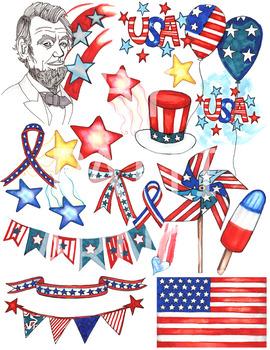 Patriotic USA ClipArt Set.