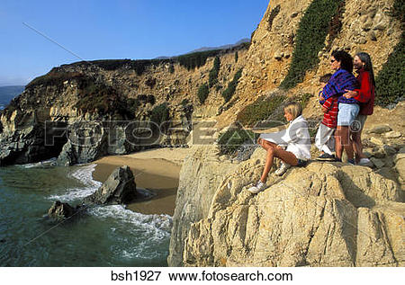 Picture of Family watching the surf from a cliff along US Highway.
