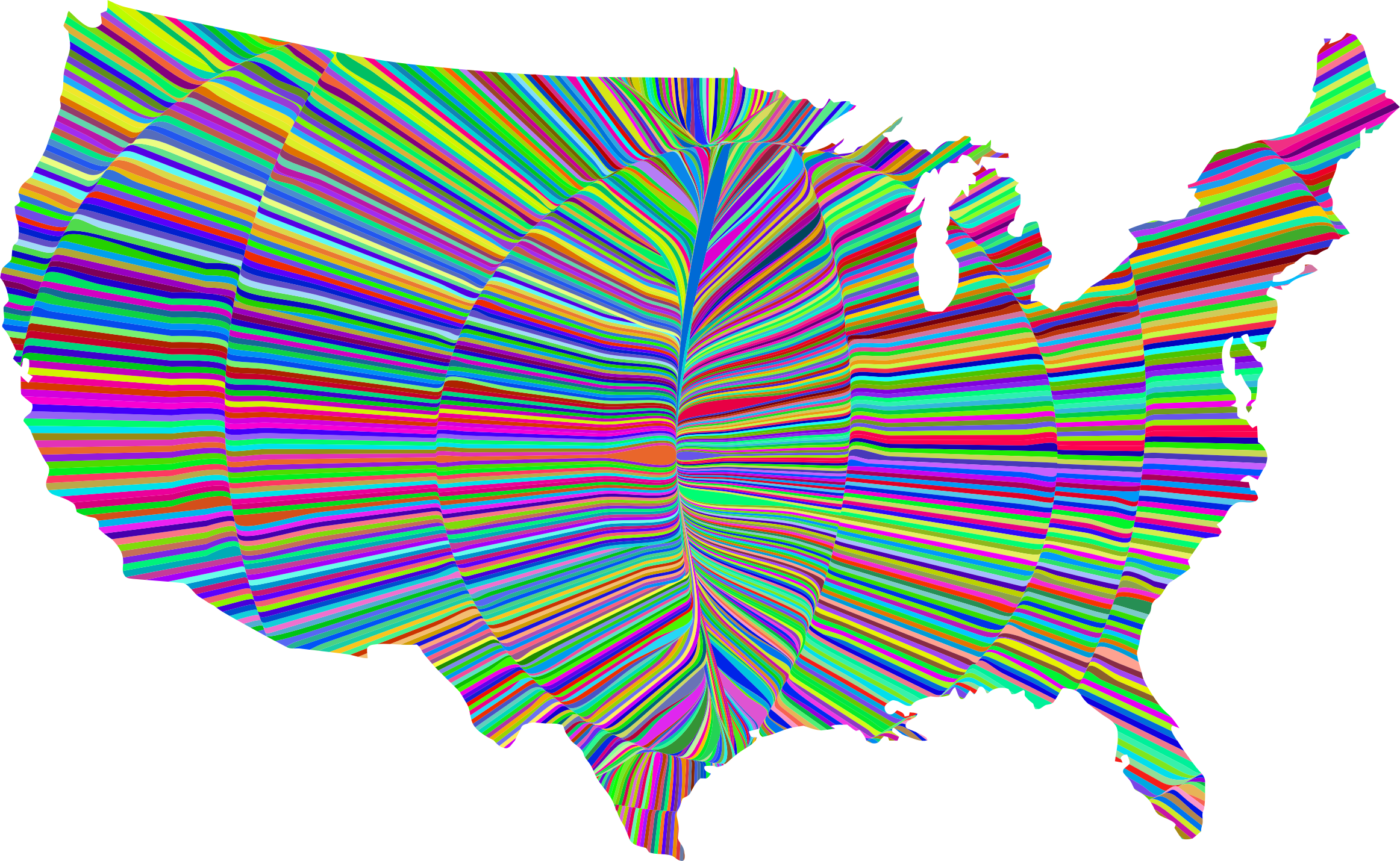 Psychedelic Waves United States Map Graphic Transparent.