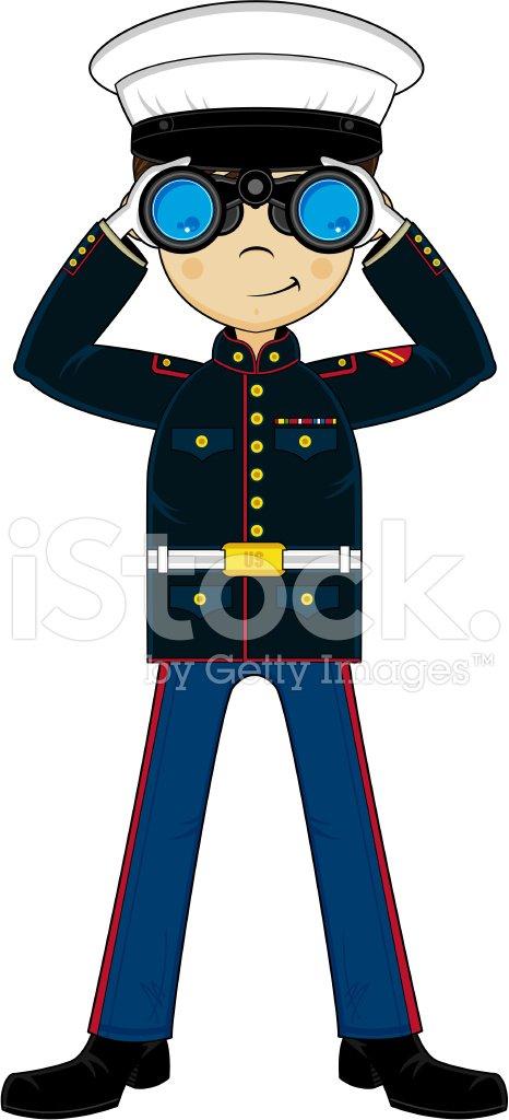 Cute US Marine Corp NCO with Binoculars Clipart Image.