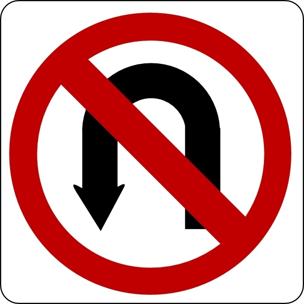 No U Turn Sign clip art Free vector in Open office drawing.