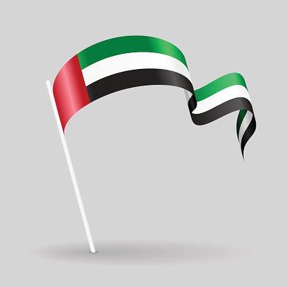 United Arab Emirates wavy flag. Vector illustration. Clipart.