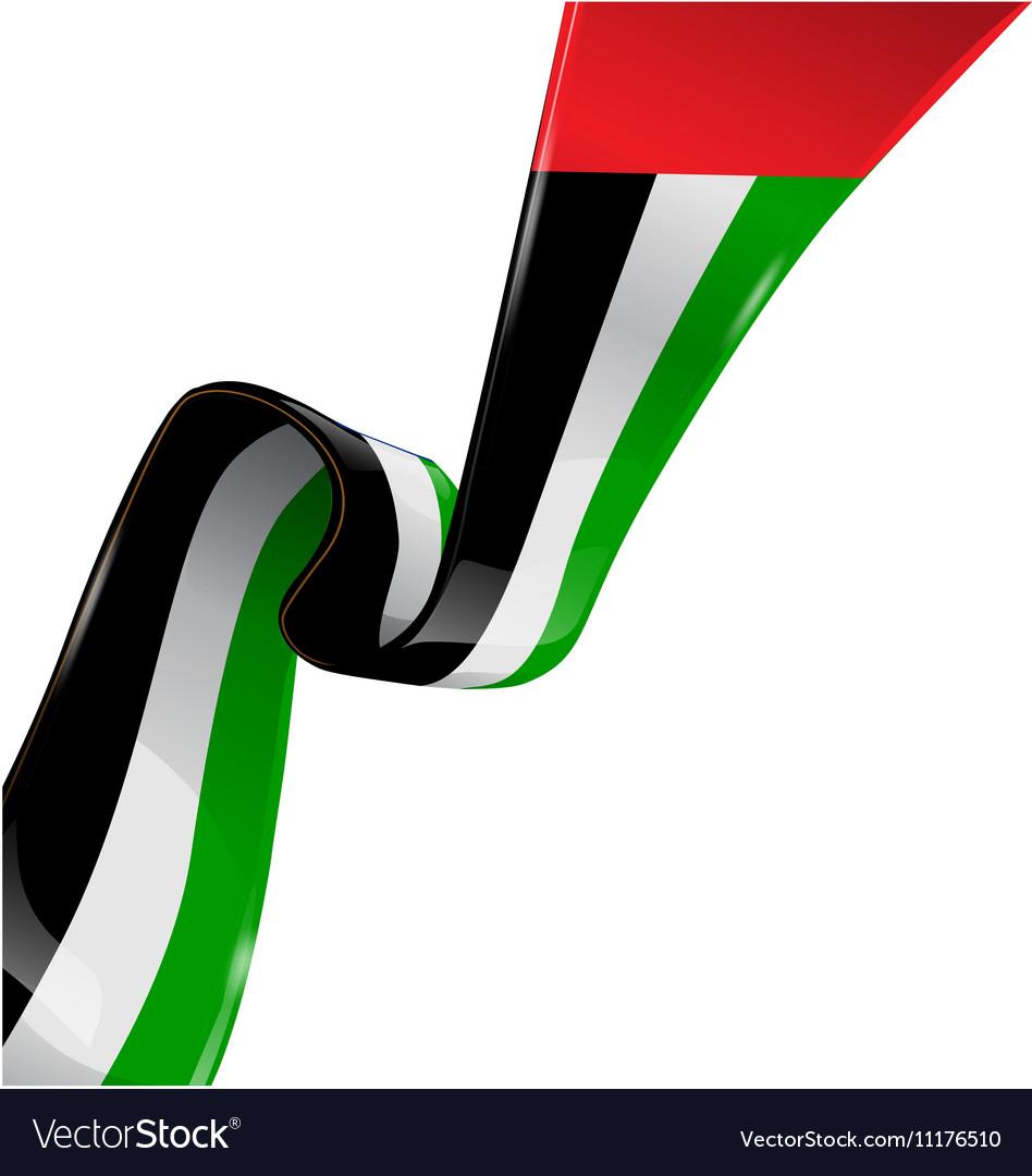 United arab emirates ribbon flag on white.