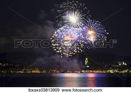 """Stock Photograph of """"Fireworks at the Promenadenfest festival in."""