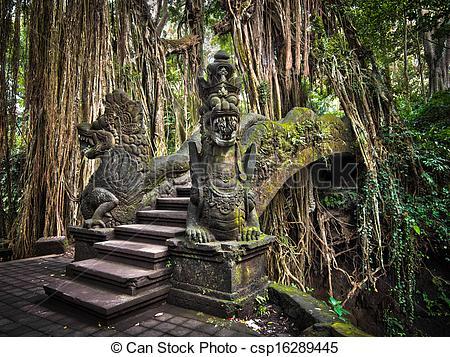 Stock Photo of Dragon Bridge at Monkey Forest Ubud.