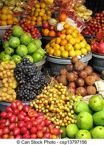 Stock Images of Bali: exotic fruits and vegetables at a.