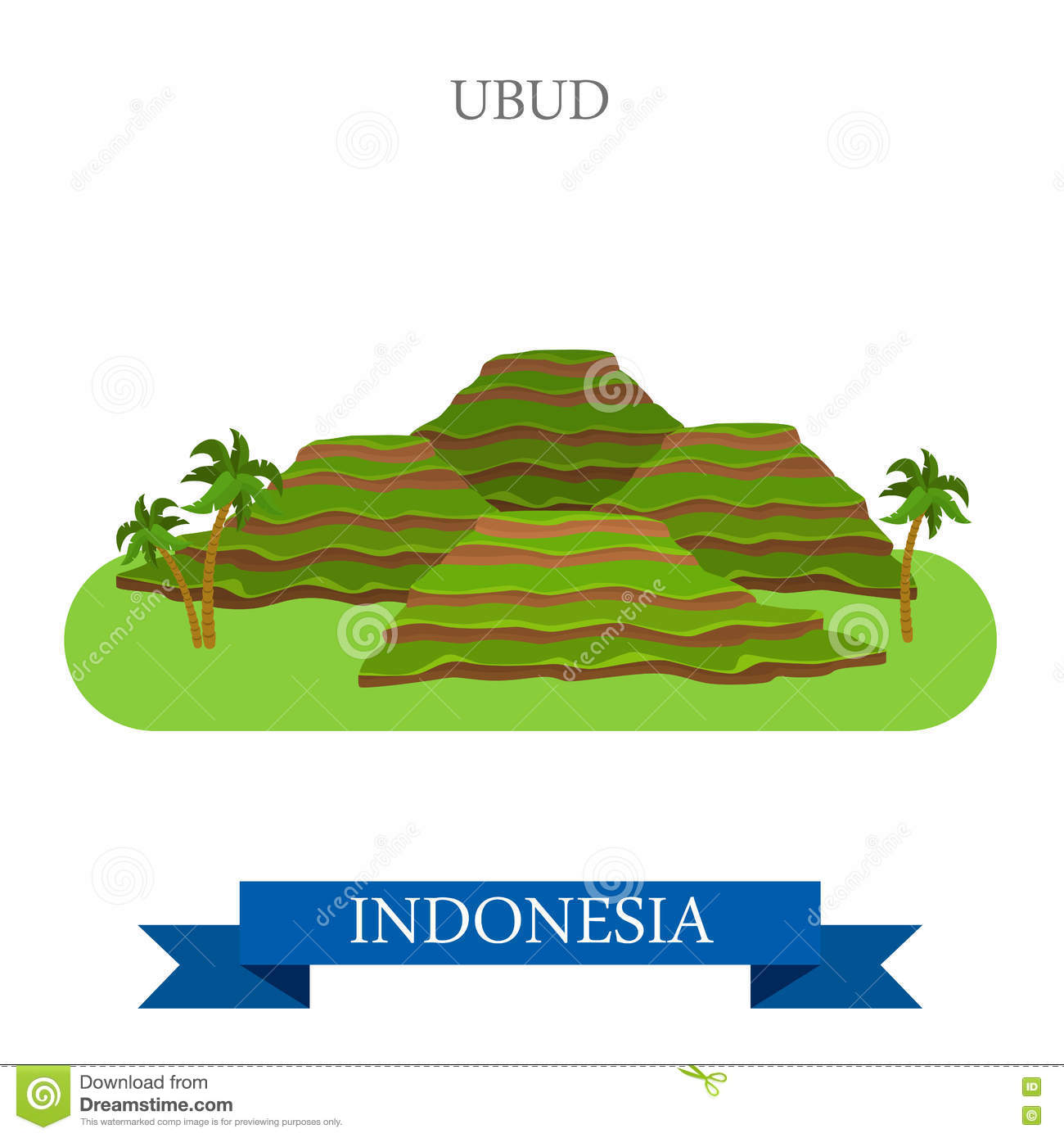 Ubud In Bali Island, Indonesia Vector Flat Attraction Stock Vector.