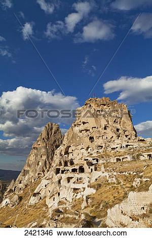 Stock Images of Uchisar Castle; Uchisar, Cappadocia, Turkey.