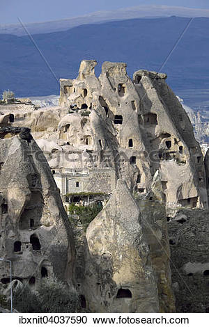 """Stock Photography of """"Cave dwellings, tufa formations, Uchisar."""