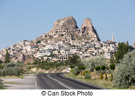 Pictures of view of Uchisar castle in Cappadocia , Turkey.