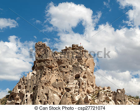Picture of view of Uchisar castle in Cappadocia , Turkey.
