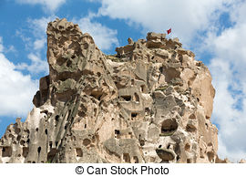 Stock Photography of view of Uchisar castle in Cappadocia , Turkey.