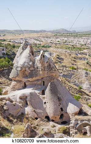 Stock Photograph of Photo of man made caves in Uchisar, Turkey.