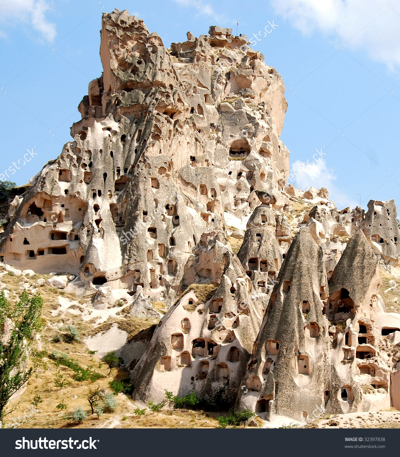 Hill Showing Uchisar Castle Cave Houses Stock Photo 32397838.