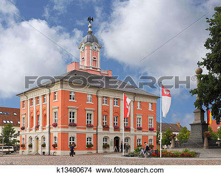Stock Photo of The Baroque town hall of Templin in the Uckermark.