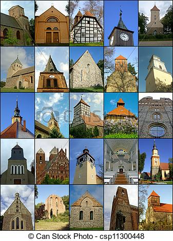Drawing of Churches of the Uckermark.