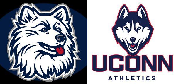 UConn Huskies: traditional Connecticut mascot logo vs. new.
