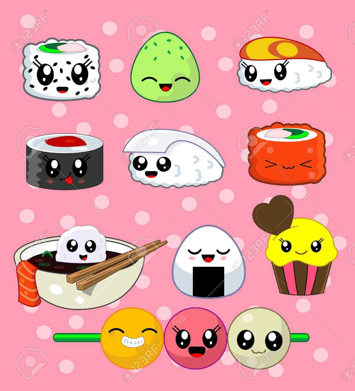 Cute Kawaii Sushi With Cute Faces. Sushi Roll Set With Cake.