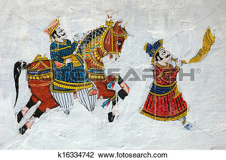 Stock Photo of Traditional colourful medieval wall painting in.