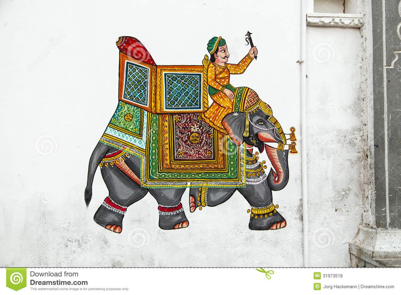 Mural Painting In Udaipur, Rajasthan Stock Image.