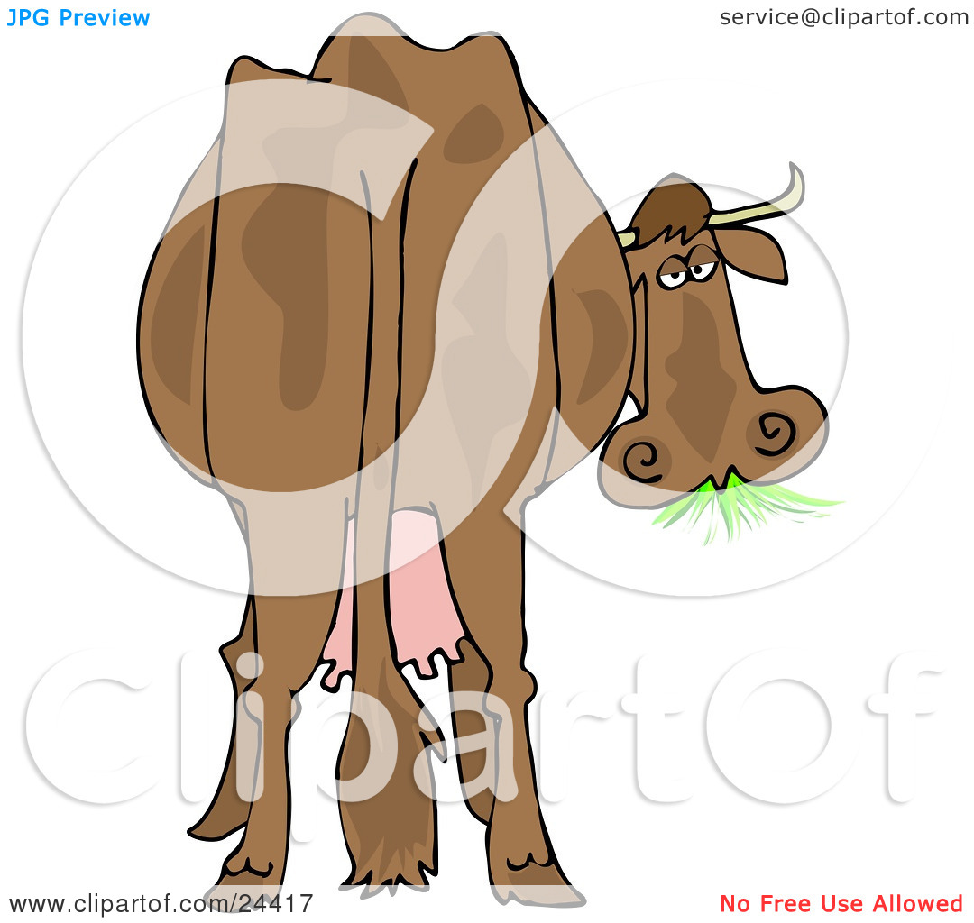 Clipart Illustration of a Brown Dairy Cow With Udders, Looking.