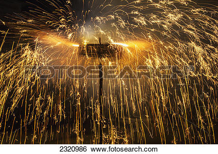 Stock Images of Fireworks During A Festival;Udupi Karnataka India.