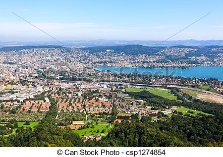 Stock Photo of The aerial view of Zurich City from the top of.