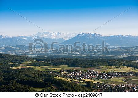 Picture of scenic view from uetliberg, z�rich switzerland with.
