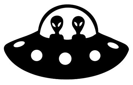 Alien Spaceship UFO Vinyl Decal Sticker (BLACK).