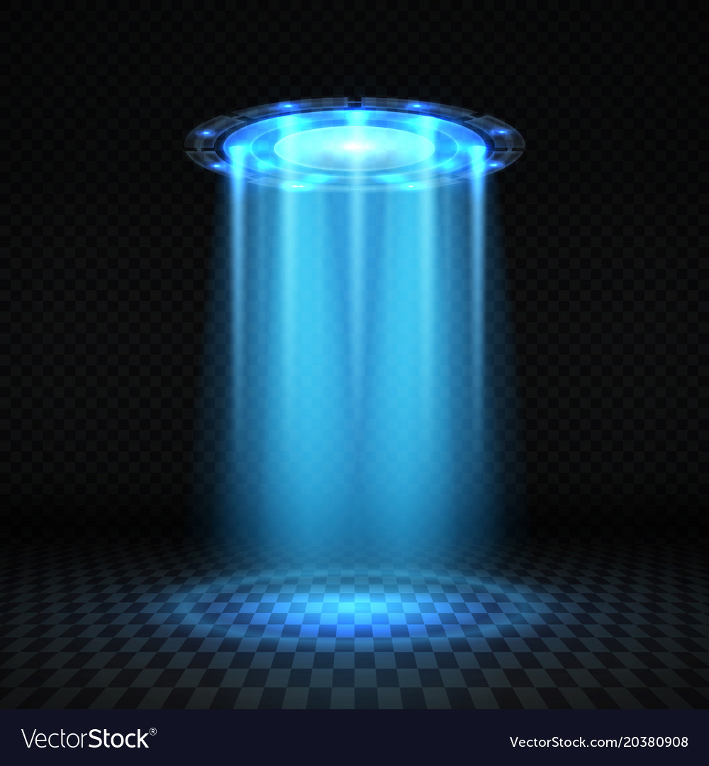 Ufo blue light beam futuristic alien spaceship.