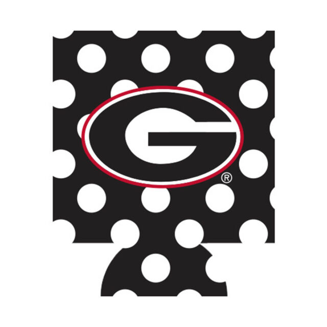 UGA College Football Georgia Bulldogs Logo Black With White Dots Can Coozie  Beer.