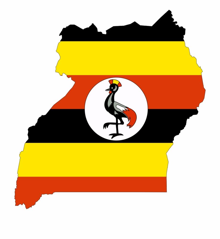 Uganda Flag Map.