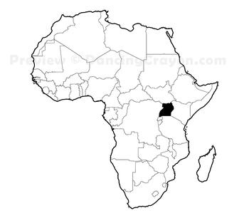 Maps of Uganda: Clip Art Map Set.