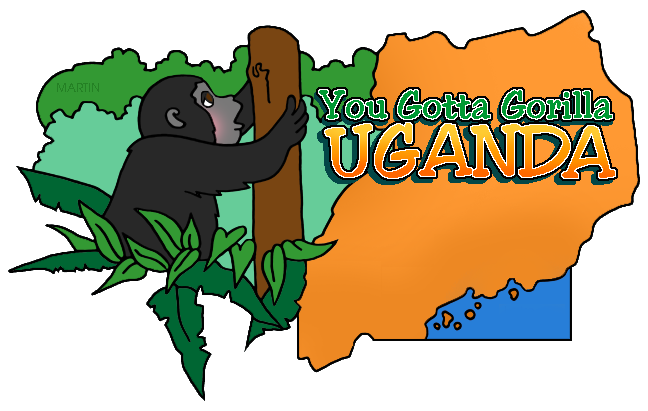 Free Africa Clip Art by Phillip Martin, Uganda Map.