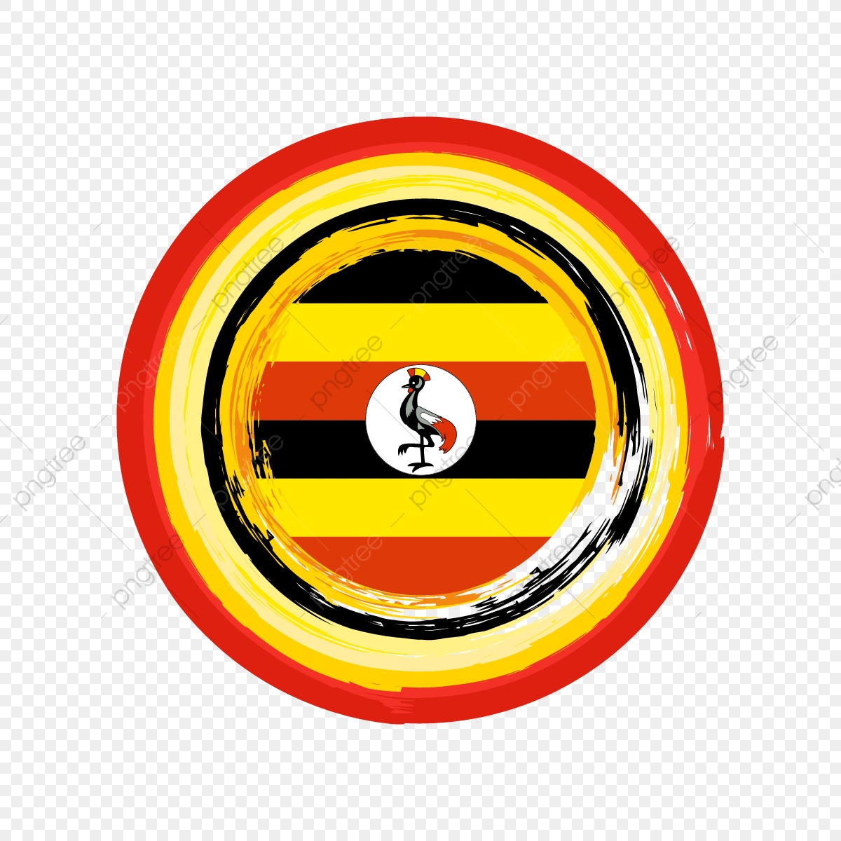 Uganda Flag Of Circle Brush Stroke Decoration, Uganda Flag.
