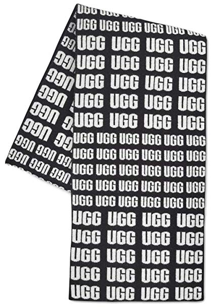 UGG Women\'s UGG Logo Knit Scarf Black One Size at Amazon.