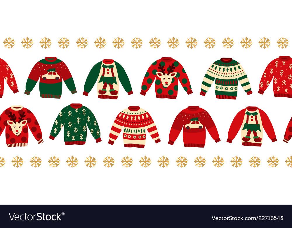 Ugly christmas sweaters seamless border.