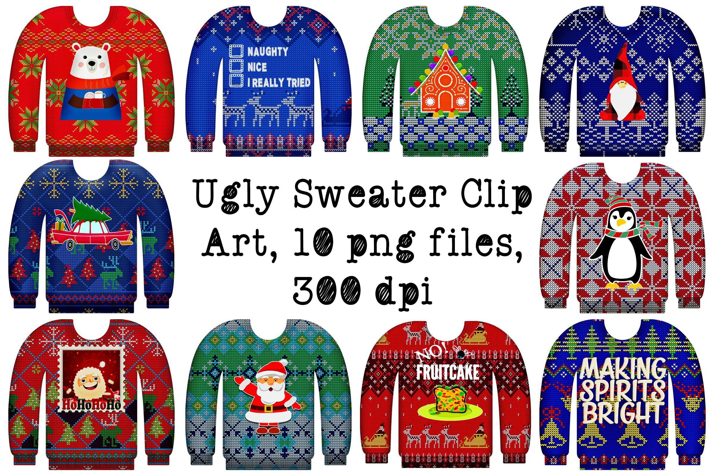 Ugly Christmas Sweaters with Graphics Clip Art.