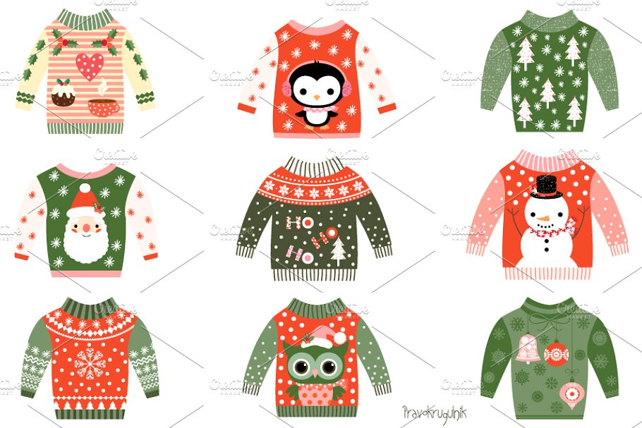 Cute ugly Christmas sweaters clipart.