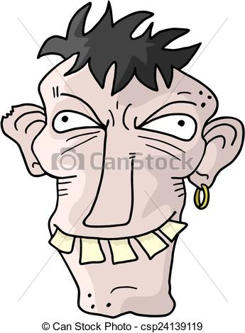 Vector Clip Art of ugly man.