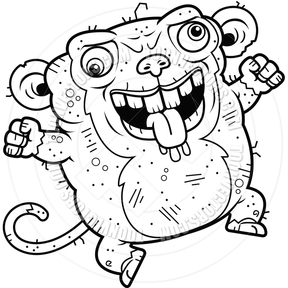 Cartoon Ugly Monkey Crazy Black And White Line Art By Cory