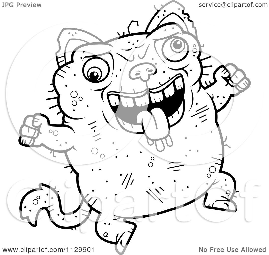 Cartoon Clipart Of An Outlined Jumping Ugly Cat.