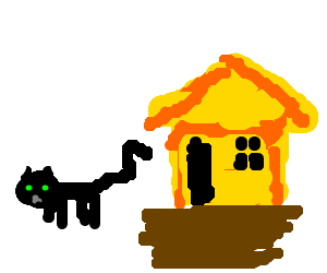 Cat wagging its tail against a yellow ugly house (drawing by Cordell).