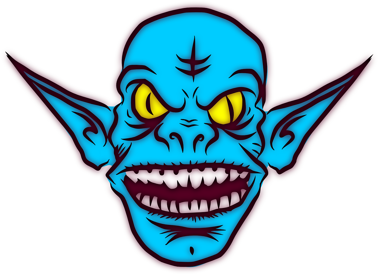 Troll Ugly Monster Alien Ears Goblin Grin Mean.