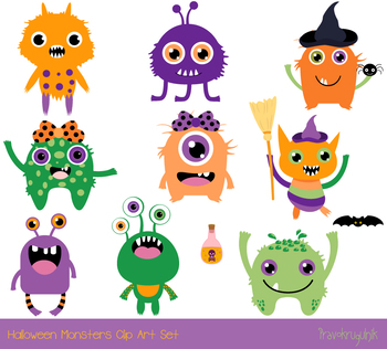Cute Halloween monsters clipart, Silly ugly Halloween animal character alien.